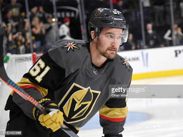 Mark Stone of the Vegas Golden Knights warms up before a game against the Dallas Stars at TMobile Arena on February 26 2019 in Las Vegas Nevada