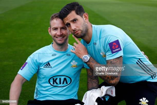 Mark Stoneman and Jade Dernbach pose for a photo during the Surrey CCC Photocall at The Kia Oval on April 16 2018 in London England
