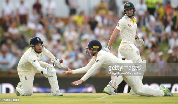 Mark Stoneman and Jonny Bairstow of England fail to catch Shaun Marsh of Australia during the second day of the third Ashes cricket test match...
