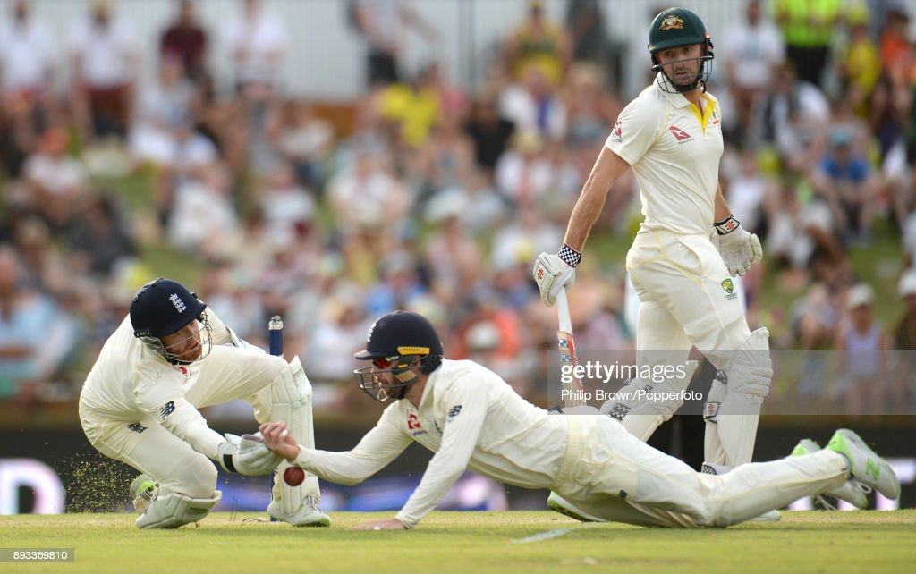 Mark Stoneman and Jonny Bairstow of England fail to catch Shaun Marsh of Australia during the second day of the third Ashes cricket test match between Australia and England at the WACA on December 15, 2017 in Perth, Australia.