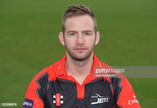 Mark Stoneman of Durham poses for a photograph in the T20 kit during the Durham County Cricket Club photocall at the Riverside on April 8 2016 in...