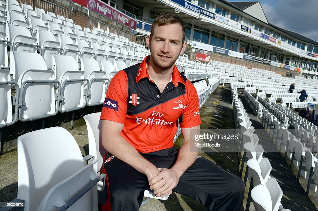 Mark Stoneman of Durham poses for a portrait during the Durham CCC Photocall at The Riverside on March 31, 2015 in Chester-le-Street, England.