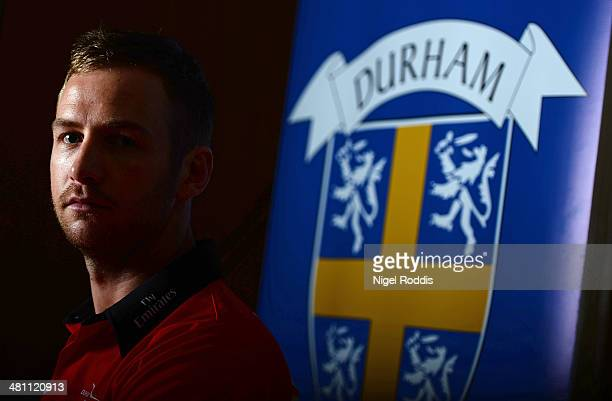 Mark Stoneman of Durham poses for a portrait during the Durham CCC Photocall at The Riverside on March 28 2014 in ChesterLeStreet England