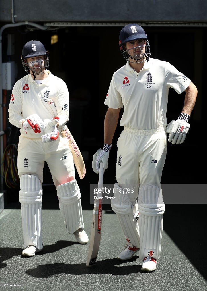 Mark Stoneman of England and Alastair Cook of England prepare to bat during the four day tour match between Cricket Australia XI and England at Adelaide Oval on November 8, 2017 in Adelaide, Australia.