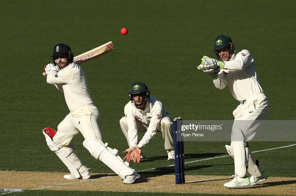Mark Stoneman of England bats as Tim Paine of CA XI keeps wicket during the four day tour match between Cricket Australia XI and England at Adelaide Oval on November 8, 2017 in Adelaide, Australia.