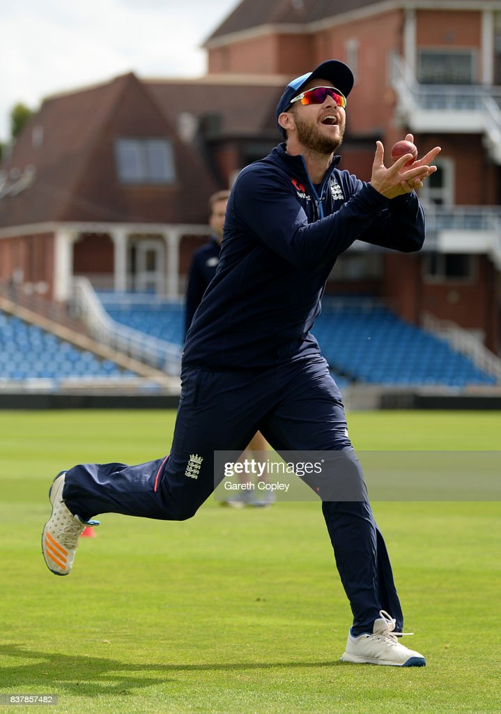 Mark Stoneman of England catches during a nets session at Headingley on August 23, 2017 in Leeds, England.