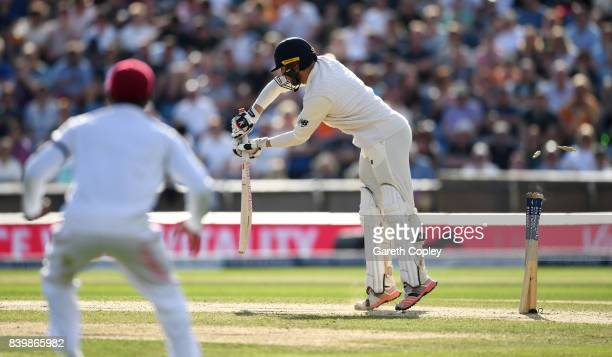 Mark Stoneman of England is bowled by Shannon Gabriel of the West Indies during day three of the 2nd Investec Test between England and the West...