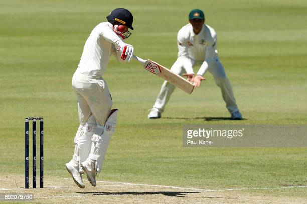 Mark Stoneman of England is struck by a delivery off Josh Hazlewood of Australia during day one of the Third Test match of the 2017/18 Ashes Series...
