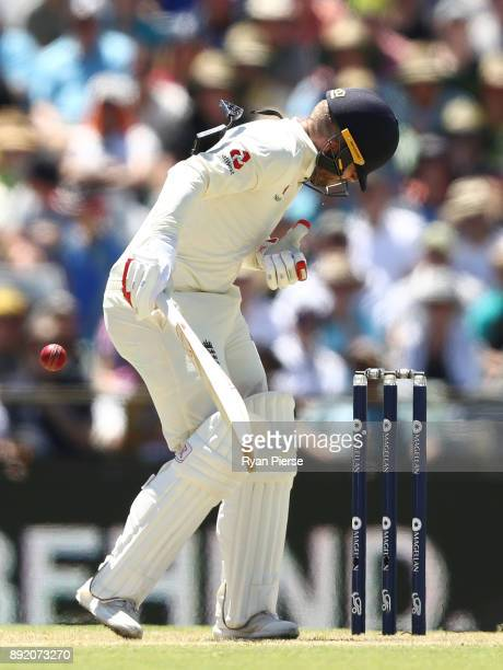 Mark Stoneman of England is struck on the helmet by a delivery from Josh Hazlewood of Australia during day one of the Third Test match of the 2017/18...