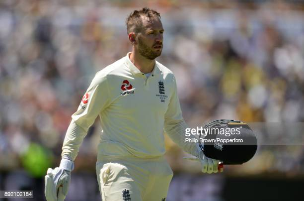 Mark Stoneman of England leaves the field after a review during the first day of the third Ashes cricket test match between Australia and England at...