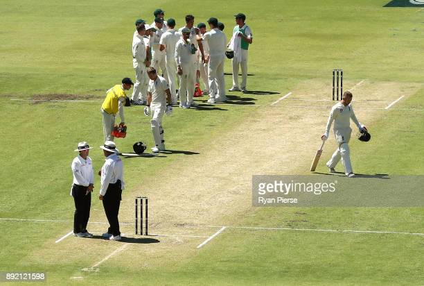 Mark Stoneman of England looks dejected after being dismissed by Mitchell Starc of Australia during day one of the Third Test match of the 2017/18...