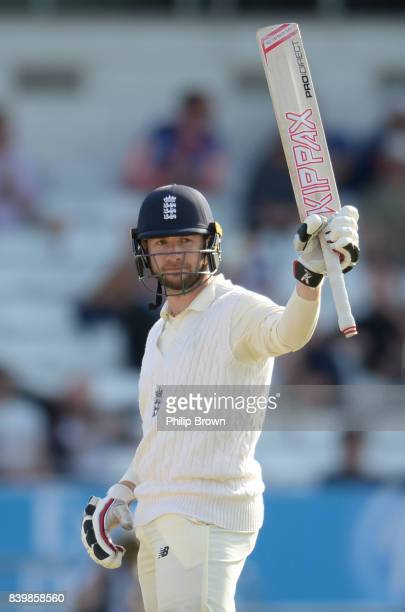 Mark Stoneman of England reaches his half century during the third day of the 2nd Investec Test match between England and the West Indies at...