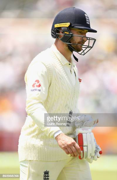Mark Stoneman of England walks from the field after being dismissed by Josh Hazlewood of Australia during day four of the Third Test match during the...