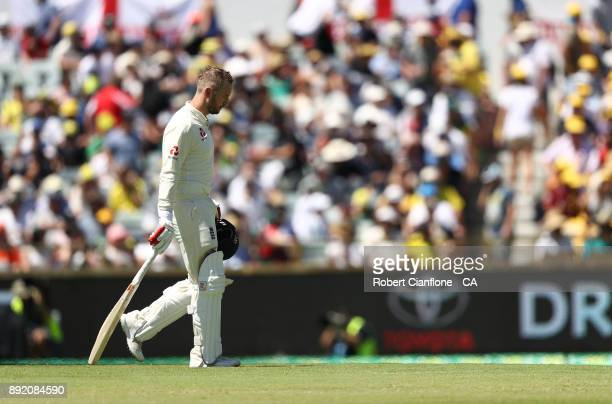 Mark Stoneman of England walks off after he was dismissed during day one of the Third Test match of the 2017/18 Ashes Series between Australia and...