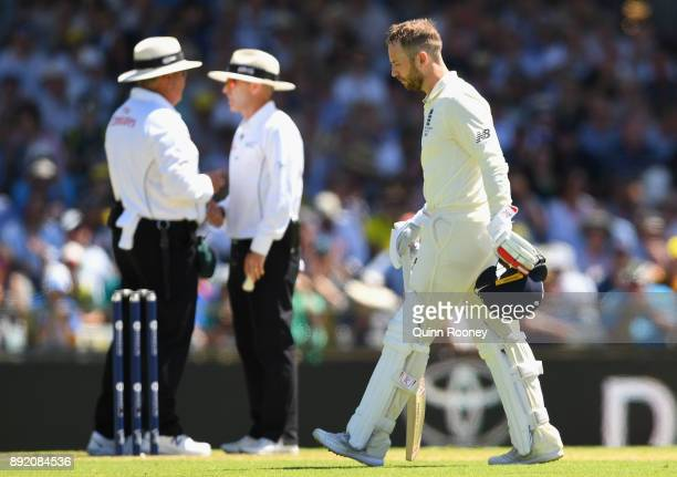 Mark Stoneman of England walks off the field after being dismissed by Mitchell Starc of Australia during day one of the Third Test match of the...
