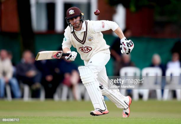 Mark Stoneman of Surrey bats during the Specsavers County Championship Division One match between Surrey and Essex at Guildford Cricket Club on June...