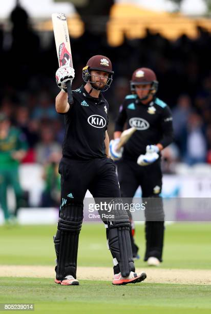 Mark Stoneman of Surrey celebrates his century during the Royal London OneDay Cup Final betwen Nottinghamshire and Surrey at Lord's Cricket Ground on...
