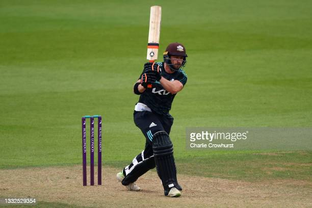Mark Stoneman of Surrey hits out during the Royal London Cup match between Surrey and Somerset at The Kia Oval on August 05, 2021 in London, England.