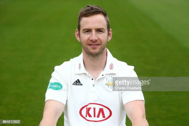 Mark Stoneman poses in the Specsavers County Championship kit during the Surrey CCC Photocall at The Kia Oval on April 4 2017 in London England