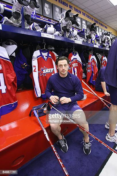 Mark Streit of the Eastern Conference AllStars tapes his stick prior to the 2009 NHL AllStar game at the Bell Centre on January 25 2009 in Montreal...