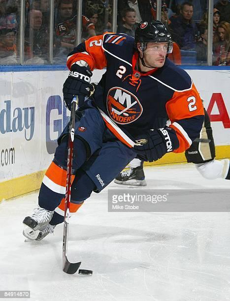Mark Streit of the New York Islanders skates against the Pittsburgh Penguins on February 16, 2009 at Nassau Coliseum in Uniondale, New York....