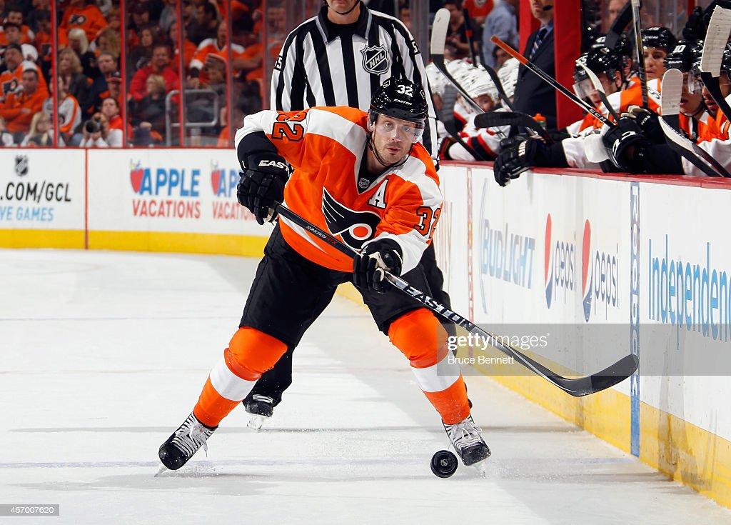 Mark Streit #32 of the Philadelphia Flyers skates against the New Jersey Devils at the Wells Fargo Center on October 9, 2014 in Philadelphia, Pennsylvania. The Devils defeated the Flyers 6-4.