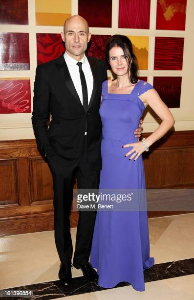 Mark Strong and Liza Marshall arrive at the after party following the EE British Academy Film Awards at Grosvenor House on February 10, 2013 in...