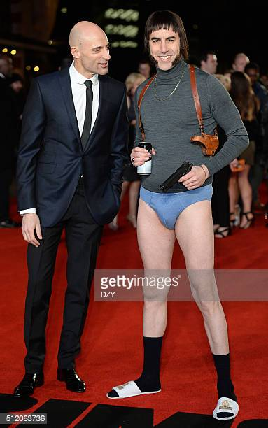Mark Strong and Sacha Baron Cohen arrive for the World Premiere of 'Grimsby' at Odeon Leicester Square on February 22 2016 in London England