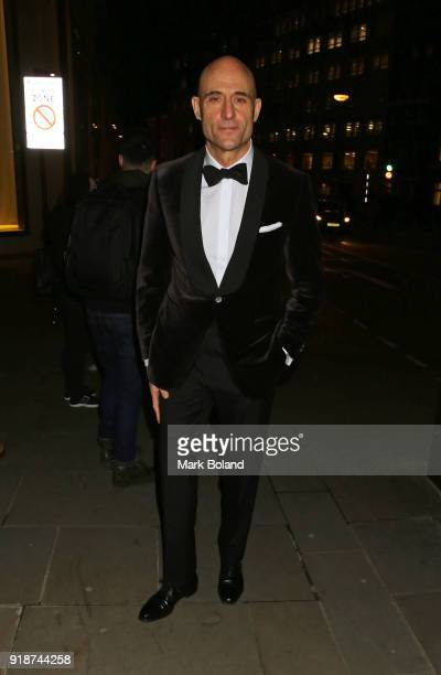 Mark Strong arrives at the Dunhill GQ preBAFTA Filmmakers Dinner and Party Cohosted by Andrew Maag Dylan Jones on February 15 2018 in London England