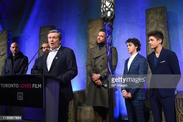Mark Strong, Director David F. Sandberg, Toronto Mayor John Tory, Zachary Levi, Jack Dylan Grazer and Asher Angel attend the unveiling of the Shazam!...