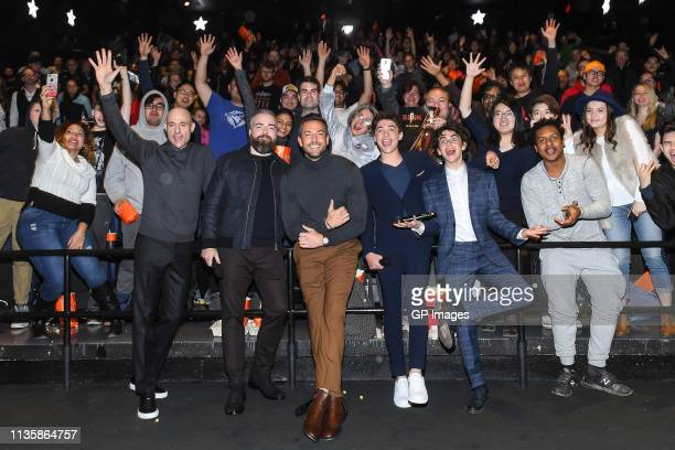 Mark Strong, Director David F. Sandberg, Zachary Levi, Asher Angel and Jack Dylan Grazer attend the Shazam! Toronto's xoTO Neighbourhood Giveback...