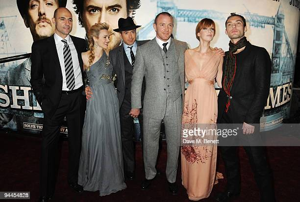 Mark Strong, Rachel McAdams, Robert Downey Jnr, Guy Ritchie, Kelly Reilly and Jude Law arrive at the World Premiere of 'Sherlock Holmes', at the...