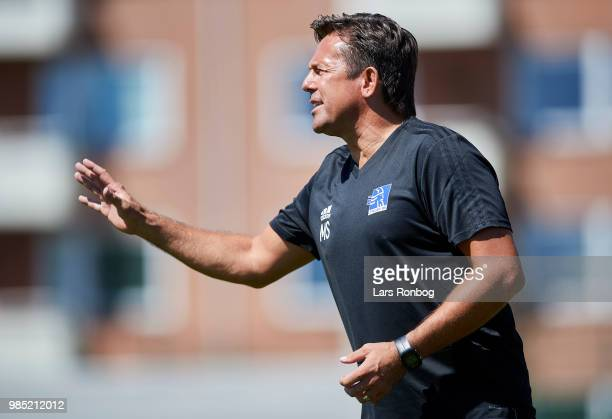 Mark Strudal head coach of Lyngby Boldklub gestures during the friendly match between FC Copenhagen and Lyngby Boldklub at KB's baner on June 27 2018...