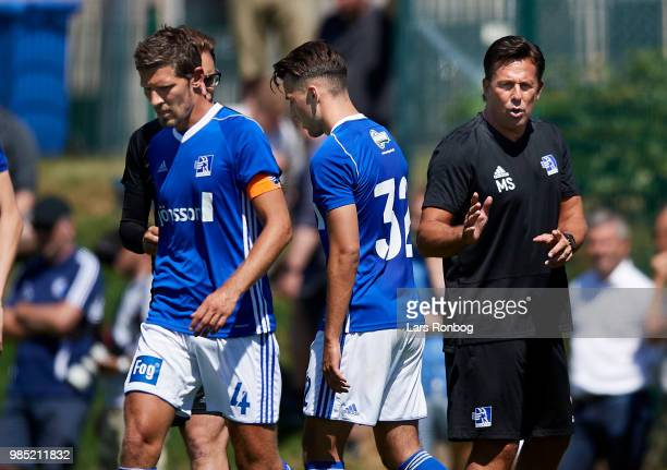 Mark Strudal head coach of Lyngby Boldklub with his players during the friendly match between FC Copenhagen and Lyngby Boldklub at KB's baner on June...