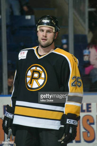 Mark Stuart of the Providence Bruins looks on during the game against the Bridgeport Sound Tigers at the Arena at Harbor Yard on February 4 2006 in...