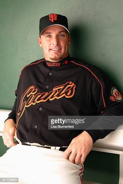 Mark Sweeney of the San Francisco Giants poses for a portrait during the San Francisco Giants Photo Day at Scottsdale Stadium on February 28 2006 in...