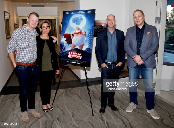 Mark Swift Mireille Soria David Soren and Dav Pilkey attend a screening of 'Captain Underpants' hosted by The Moms at RealD Screening Room on May 19...