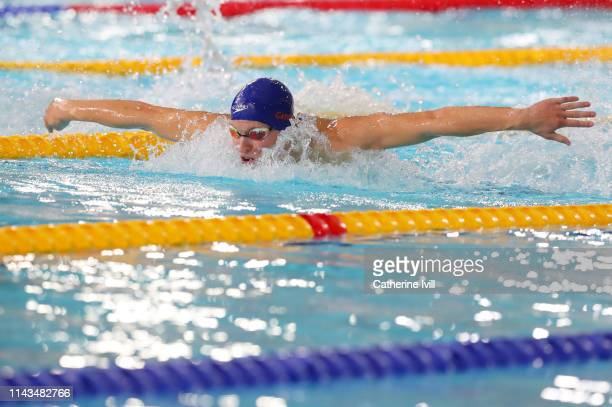 Mark Szaranek competes in the Men's 400m IM heats during Day Three of the British Swimming Championships 2019 at Tollcross International Swimming...
