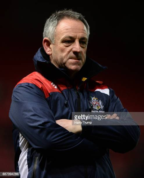 Mark Tainton Head Coach of Bristol Rugby during the Aviva Premiership match between Bristol Rugby and Gloucester Rugby at Ashton Gate on March 24...