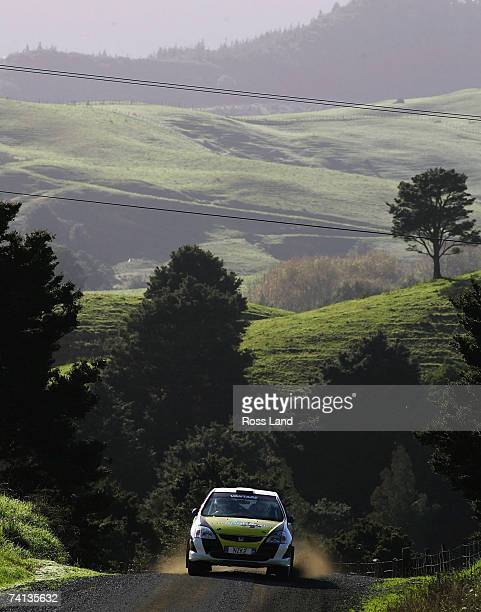 Mark Tapper and co-driver Jeff Cress of New Zealand drive their Ford Fiesta ST through SS10, Brooks 1 on leg 2 of the International Rally of...