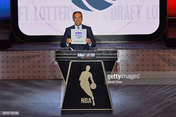 Mark Tatum NBA's deputy commissioner announces the Sacramento Kings as the pick during the 2016 NBA Draft Lottery at the New York Hilton in New York...