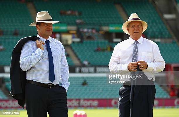 Mark Taylor and Ian Healy former Australian players and current Channel 9 commentators wear wide brim hats honour Tony Grieg who passed away last...