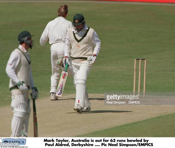 Mark Taylor Australia is out for 63 runs bowled by Aldred Derbyshire