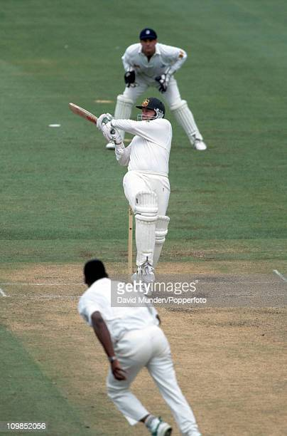 Mark Taylor batting during his innings of 113 for Australia in the 3rd Test match at the Sydney Cricket Ground 5th January 1995 The England bowler is...