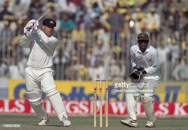 Mark Taylor batting for Australia against Pakistan during the Wills Cup Final played at the Gaddafi Stadium in Lahore 30th October 1994 The Pakistan...