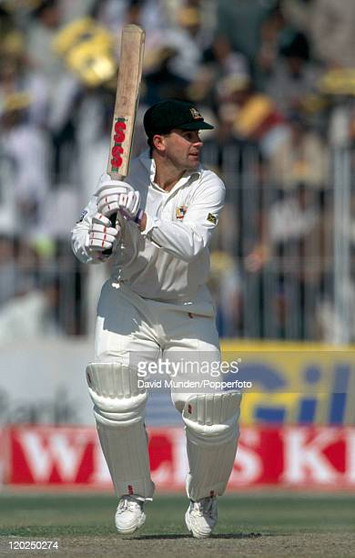 Mark Taylor batting for Australia against Pakistan during the Wills Cup Final played at the Gaddafi Stadium in Lahore 30th October 1994 Australia won...