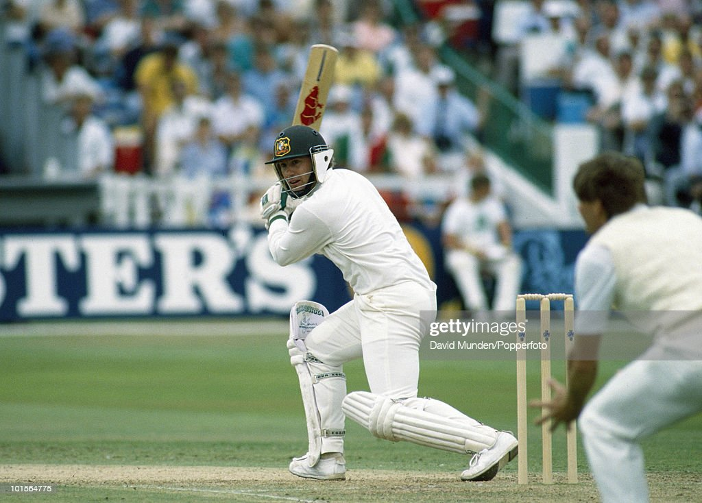 Mark Taylor batting for Australia during his innings of 219 on the second day of the 5th Test match between England and Australia at Trent Bridge in Nottingham, 11th August 1989. Australia won by an innings and 180 runs.