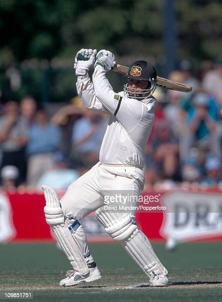 Mark Taylor batting for Australia during the 4th Test match against England at the Adelaide Oval cricket ground 30th January 1995 England won by 106...