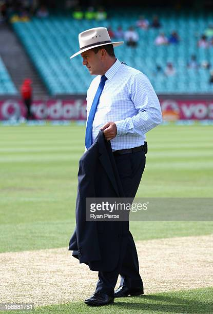 Mark Taylor former Australian Captain and current Channel 9 commentator wears a wide brim hat honour Tony Grieg who passed away last week during day...
