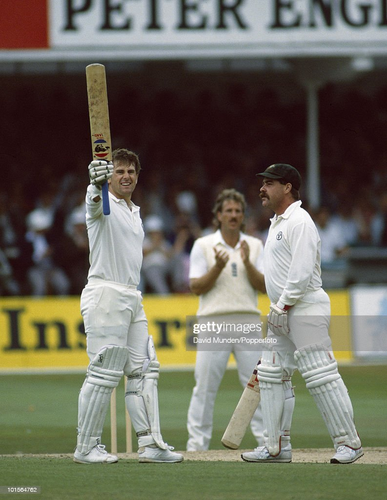 Mark Taylor holds his bat aloft and is congratualted by David Boon after reaching 200 for Australia on the second day of the 5th Test match between England and Australia at Trent Bridge in Nottingham, 11th August 1989. Taylor was eventually out for 219. Australia won by an innings and 180 runs.